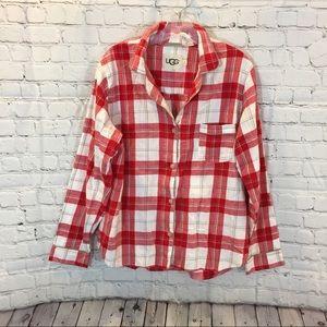 UGG Women's Red and White Plaid Pajama Shirt